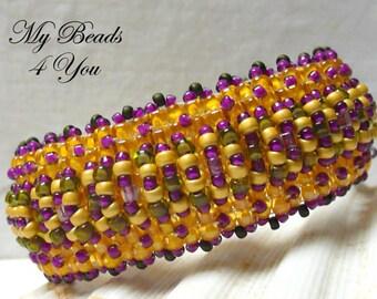 Beaded Cuff, Beaded Bracelet, Beaded Jewelry, Seed Bead Bracelet, Beadwoven Bracelet, Beadwork Bracelet, Gold Bead Bracelet, MyBeads4You