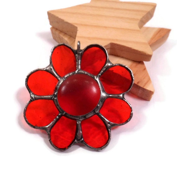 Stained Glass Jewelry Orange Glass Flower Pendant Glass and Metal Jewelry Handmade Orange Necklace Flower Jewelry Orange Glass Jewelry