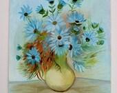 Vintage Art OOAK Painting Vintage Still Life Painting of Blue Cornflowers Vintage Floral Painting Vintage Oil Painting