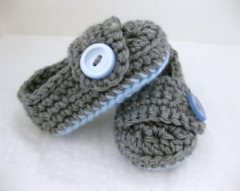 Easter Baby Boy Booties / Shoes - Blue & Grey Crochet  - YOUR choice size - (newborn - 12 months) - photo prop - clothing
