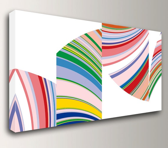 "Mid Century Wall Art - Stripe Painting - Colorful Art - Colorful, Curvy Stripes on White - Wall Decor  - ""Flection"""