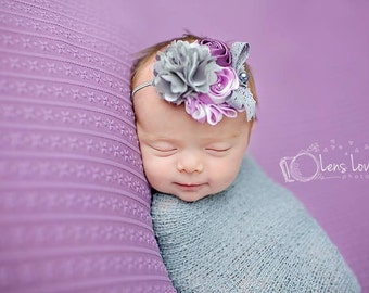 Lilac and Grey headband, purple flower headbands, grey headbands, baby headbands, newborn headbands, photography prop