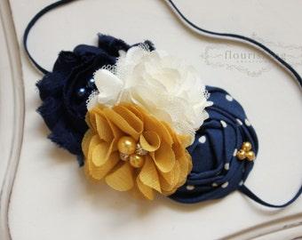 Navy, Mustard and Ivory flower headband, blue and mustard headbands, newborn headband, photography prop, fall headbands