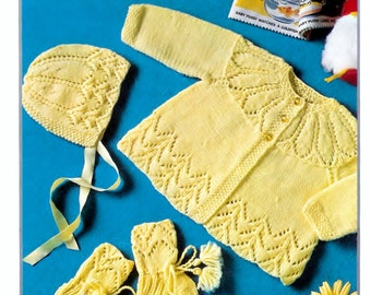 Copley 9177 Qk 8ply Matinee Jacket Bonnet and bootees 20ins - PDF  of Vintage Style Baby Knitting Patterns