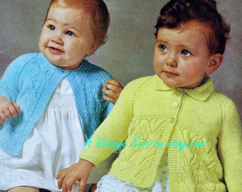 Baby Matinee Jackets in 2 styles for 4 ply for sizes 18 -19 ins - Barinswear 1715 - pdf of Vintage Knitting Patterns