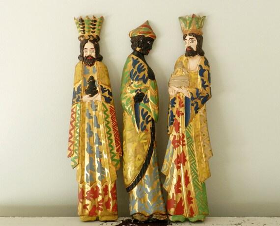 Large Vintage Three Wise Men Wood Hand Carved By Modrendition