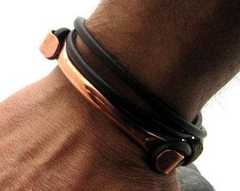 EXPRESS SHIPPING Men's Bracelet.Men Leather Bracelet .Men bracelet with handmade copper clasp.Gift for dad..Gift for men.Fathers day gift.
