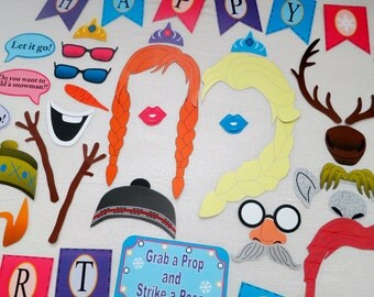 PDF - Frozen Winter Photo Booth Props for Birthday Party - PRINTABLE / DIY