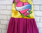 Girls Size 3T Heartbreaker Sleeveless Knit Dress. Yellow, Pink, Tattoo. Black Friday/Cyber Monday/Free Shipping /Gifts under 50