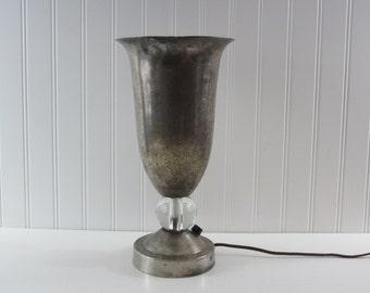 1930's French Lamp ~ Art Deco / Nouveau ~ Metal... Silverplate ? ~ Antique Lamp ~ Trumpet Lamp