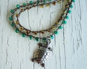 Turtle Necklace, Sea Green Turtle Necklace, Crocheted Turtle Necklace, wrap bracelet, layered necklace, beach necklace, Turtle Pendant