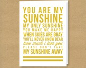 YOU are my SUNSHINE - Folded Greeting Card
