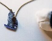 Cat Necklace / Chevron Necklace / Chevron Animal / Zig Zag  / Pet / Tabby Cat / Gray / Shrink Plastic Jewelry
