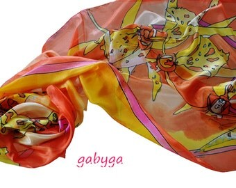 Hand painted silk shawl/Orchids in orange/Painting Silk shawl/Exotic flowers/Hand painted scarf/woman silk shawl/painted by hand/ H0065