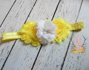 Yellow & White Spring Headband -  Photo Prop - Newborn Infant Baby Toddler Girls Adult Flower Girl Wedding You are My Sunshine