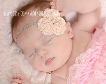 Newborn Baby Petite Headband. Photo Prop Gray Cream Champagne Rhinestones Preemie Wedding