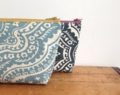 Zipper Pouch, Sky Blue Damask, Cosmetic Pouch, Toiletry Pouch