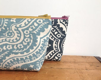 Zipper Pouch, Sky Blue Damask, Cosmetic Pouch, Toiletry Pouch, Makeup Bag, Travel Organizer, gift for her