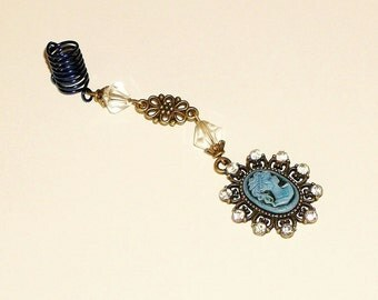 Dreadlock Jewelry -  Antique Gold Blue Cameo and Crystals Loc Jewel