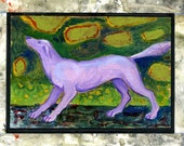 Painting with Collage Border of a Purple Dog