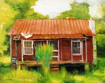 Oil on Canvas Painting of a Red Abandoned Homestead in South Carolina