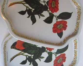 Vintage Pair of Tin Floral Trays by Elite Made in England