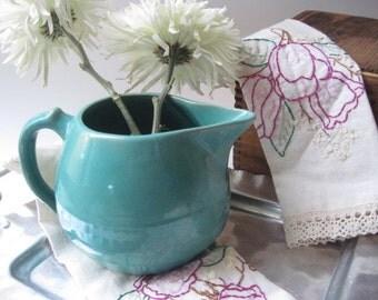 Vintage Aqua Green Ceramic Pottery Pitcher