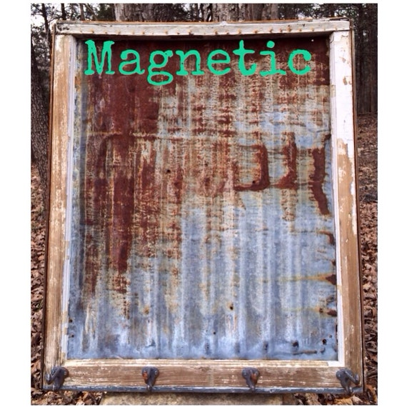 Reclaimed Old Window Rusty Barn Tin Magnetic Board Shabby
