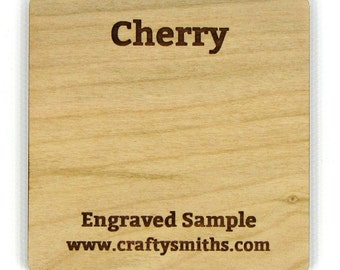 Cherry - Solid Wood Laser Engraved Sample Chip