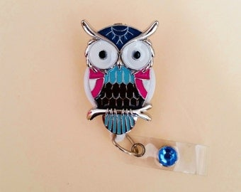 Blue and Pink Owl Pendant Badge Reel