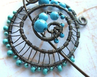 "Spiral shawl pin, scarf pin, fibula, Oxidized textured copper and turquoise, rustic ""Sea Foam"" Pin  Made to Order"
