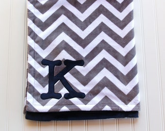 Chevron Minky Monogrammed Blanket, Grey and Navy Chevron Blanket, Chevron Baby Blanket