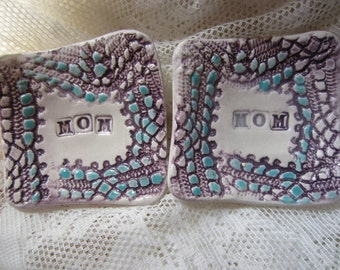 Purple and Blue Small Ceramic Dishes Gift for Mom Holidays Stocking Stuffer