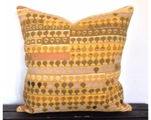 "Cushion Cover Vintage Cherry Orchard Fabric, Design By Irmgard Krebs 16"" x 16"" Retro Yellow Fabric"