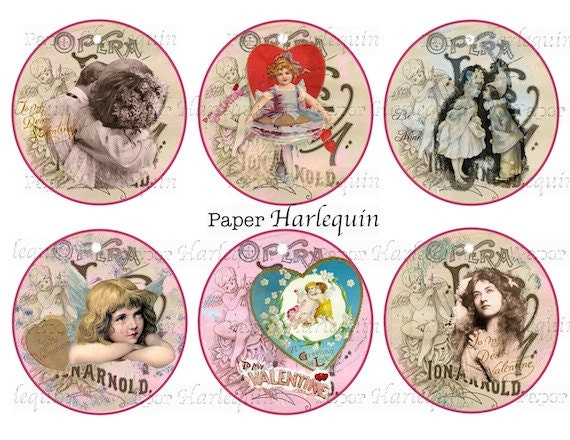 Valentine Vintage Round Digital Tags For Scrapbook Gifts