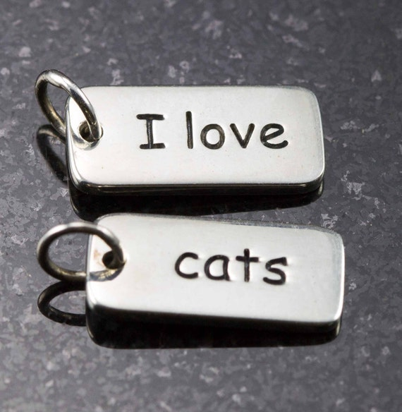 I Love Cats Sterling Word Charm  - 15mm Rectangle