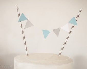 Modern Blue and Gray Cake Topper, Pennant Cake Topper, Baby Shower Topper, Wedding Cake Topper,  Baby Shower Decoration, Birthday Party
