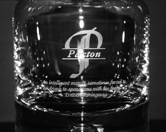 Engraved Whiskey Decanter w/ Monogram & Custom Text - Groomsmen Gift Ideas