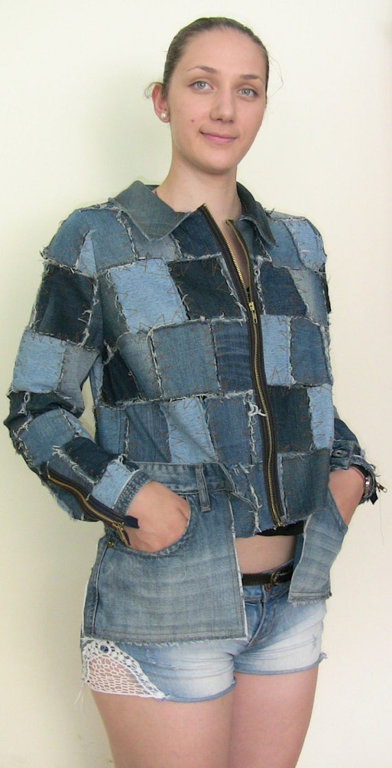 Handmade  Womens Denim Jacket Denim Patchwork in Handmade Upcycled clothing Denim colored Jacket 100% Recycled Denim Blue Jean Jacket