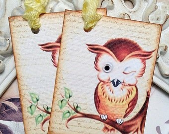 Retro Owl Tags - Set of 6