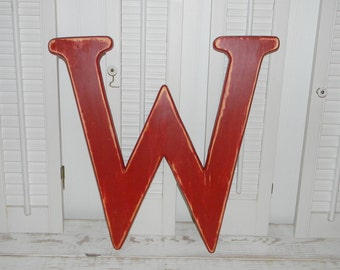 Large Wood Letter W Distressed 18 Inch Wood Letters U Choose Letter & Color