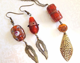 Vintage Style Necklace & Earring Set. Brass. Brown Glass Beads. Rustic. Gold. Feathers. Boho. Under 25