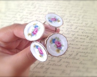 Porcelain Tea Saucer Ring. Adjustable Brass Band. Vintage Style. Whimsical. Floral Dish. Miniature Plate. Romantic Delicate. Under 20. Tea.