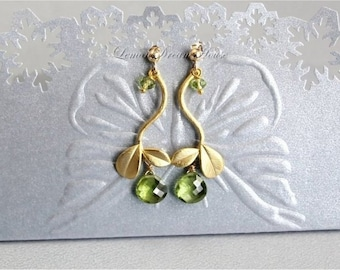 August Birthstone Earrings, Peridot Micro Cut Heart Briolettes, Gold Twig Connectors, Gold-filled Wire and Earwires. Nature Inspired. E163.