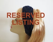 Knitted Wool Headband - Hand Knit Headband in Navy