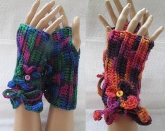 Flower fingerless mittens