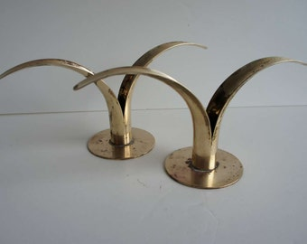 Mid Century Swedish Brass Lily Candle Holders Vintage