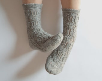 Wool socks. Hand knit lace socks. Luxurious pastel warm grey hand knit socks. Bed socks. House socks. Autumn winter. Cozy gift for her.