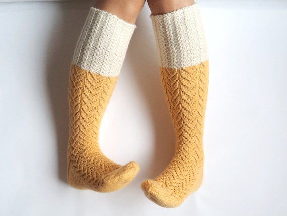 Knitting Pattern For Over The Knee Socks : Sunshine yellow boot socks. Knee high socks. Off-white pastel