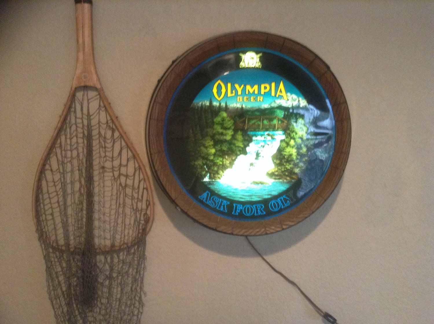 Olympia Beer Barrel Waterfall Sign With New By